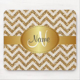 Glitter chevron monogram Mousepad