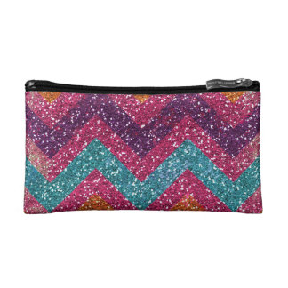 Glitter Chevron Pink Purple Orange Teal Cosmetics Bags