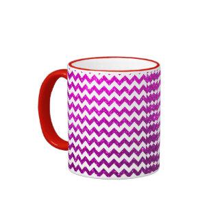 Glitter Chevron Pink Ringer Mug