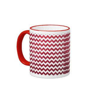 Glitter Chevron Red Coffee Mugs