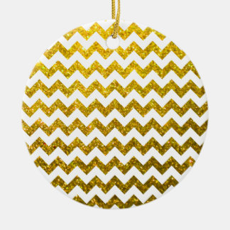 Glitter Chevron Yellow Gold Christmas Ornament