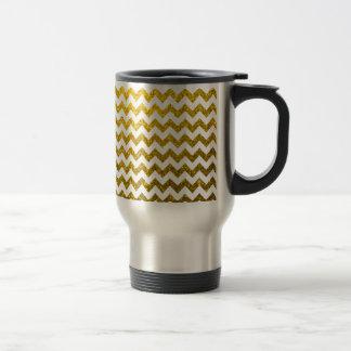 Glitter Chevron Yellow Gold Stainless Steel Travel Mug