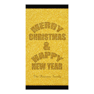 Glitter Christmas and New Year Personalized PhotoC Card