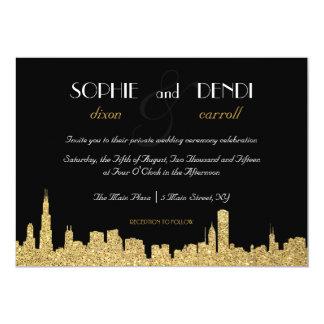 Glitter City Skyline Wedding Invitation