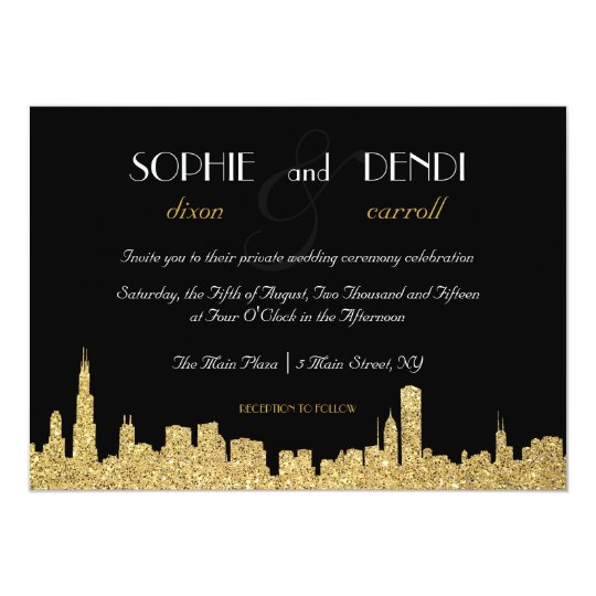 Personalized Skyline Wedding Invitations: Glitter City Skyline Wedding Invitation