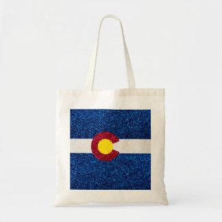 Glitter Colorado flag reusable tote bag