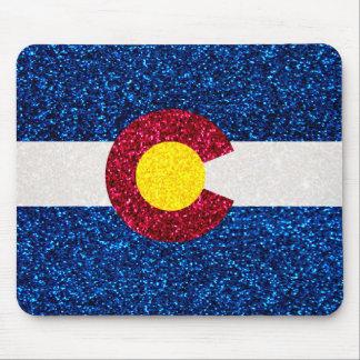 Glitter Colorado flag square mousepad