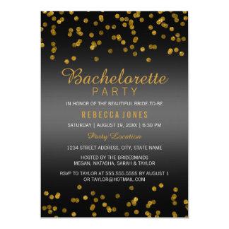 Glitter confetti Gold Black Bachelorette Party Card