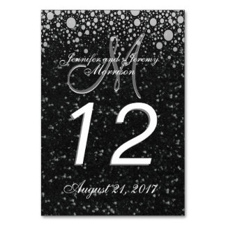 Glitter Confetti Monogram Table number Table Card