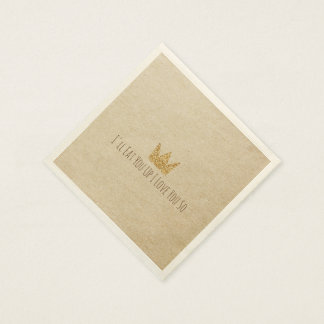 Glitter Crown Kraft Paper Napkin