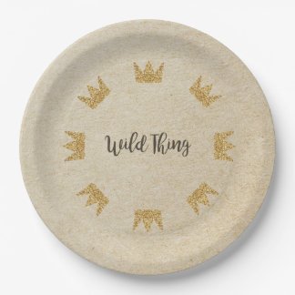 Glitter Crown Kraft Wild Thing Paper Plates