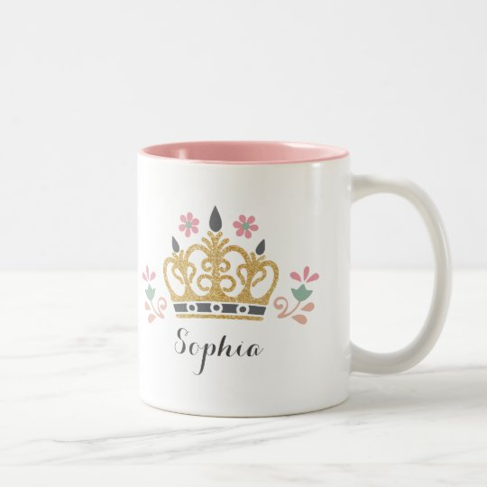 Glitter Crown Monogram Two-Tone Coffee Mug