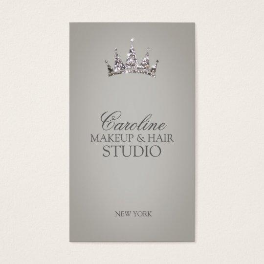 Glitter Crown Symbol Makeup & Hair Stylist Card