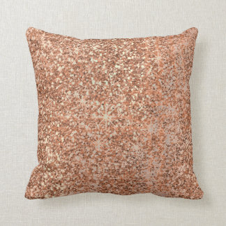 Glitter Crystals Rose Gold Makeup Sparkly Copper Cushion