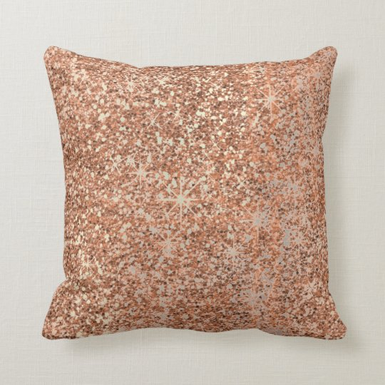 Glitter Crystals Rose Gold Makeup Sparkly Copper Throw