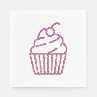 Glitter Cupcake Napkins Disposable Napkins