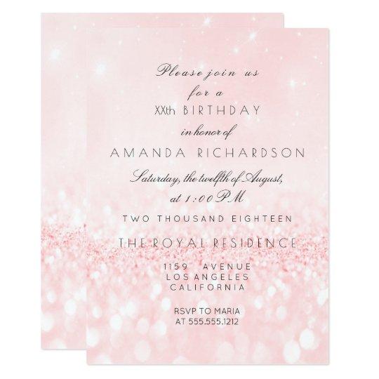Glitter Delicate Pastel Pink Rose Bridal Birthday Card