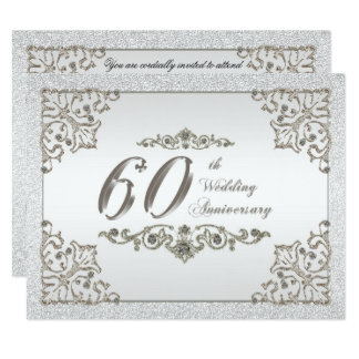 Glitter Diamond 60th Wedding Anniversary Invite