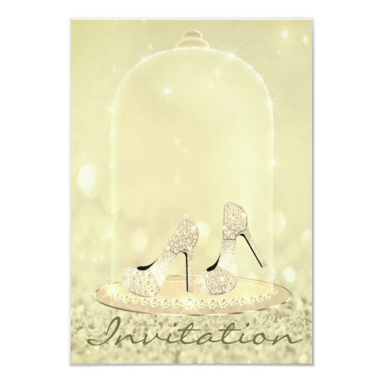 Glitter Diamond Glass Shoes Heels Gold Canary Card