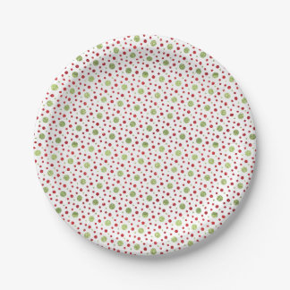 Glitter Dots in Christmas Red and Green Glitter 7 Inch Paper Plate