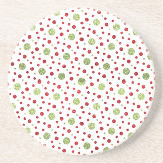 Glitter Dots in Christmas Red and Green Glitter Coasters