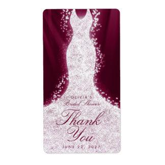 Glitter Dress Burgundy Thank You Custom Wine Label Shipping Label