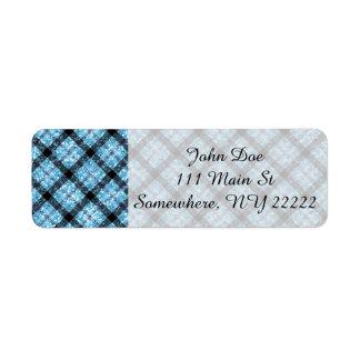 Glitter Effect Blue Tartan Plaid Return Address Label