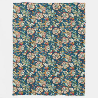 Glitter Effect Floral on Dark Blue Fleece Blanket