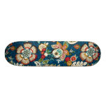 Glitter Effect Floral on Dark Blue Custom Skateboard