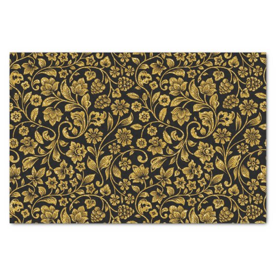 Glitter Effect Gold Floral on Black Tissue Paper