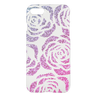 Glitter Effect Purple Roses Clear iPhone 7 Case