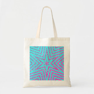 Glitter Effect Purple Stars Teal Budget Tote Bag
