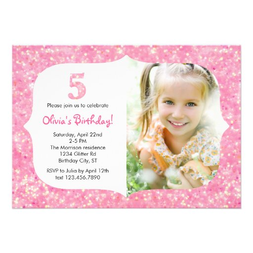 Glitter Fifth Birthday Invitation