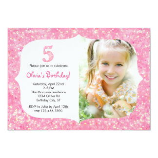 Glitter Fifth Birthday Invitation