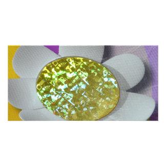 glitter flower customized photo card