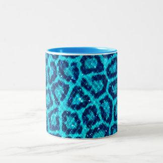 Glitter Gem Leopard Print Two-Tone Coffee Mug