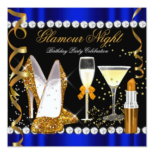 Glitter Glamour Night Blue Gold Black Party Card