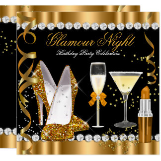 Glitter Glamour Night Gold Black Silver Party Card