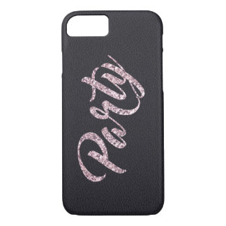 Glitter Glamour Party / faux leather iPhone 8/7 Case