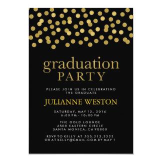 Glitter Gold and Black Confetti Graduation Party 13 Cm X 18 Cm Invitation Card