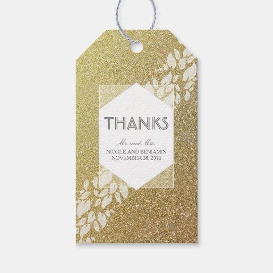 Glitter Gold and White Leaves Laurel Wedding Gift