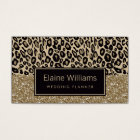 glitter gold black Leopard print chic Cards