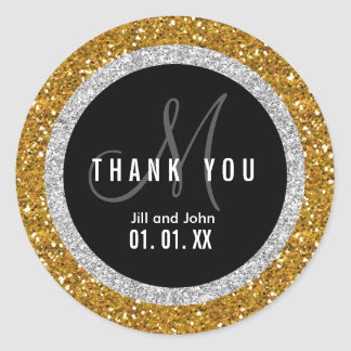 Glitter Gold Black Wedding Thank You Favor Sticker