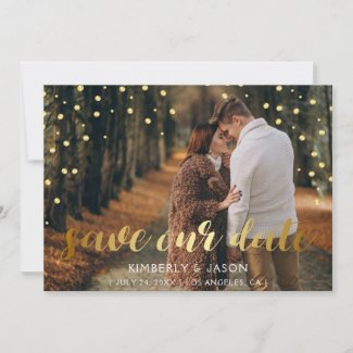 glitter gold confetti horizontal photo save the date