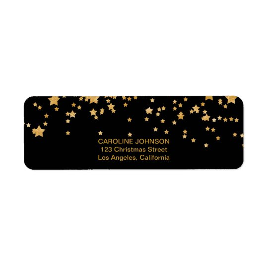 Glitter Gold Confetti Stars Return Address Labels
