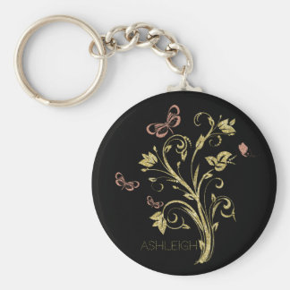Glitter Gold Flourish Butterfly Personalized Key Ring