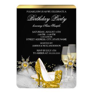Glitter Gold High Heel Shoes Gold Champagne Black 13 Cm X 18 Cm Invitation Card