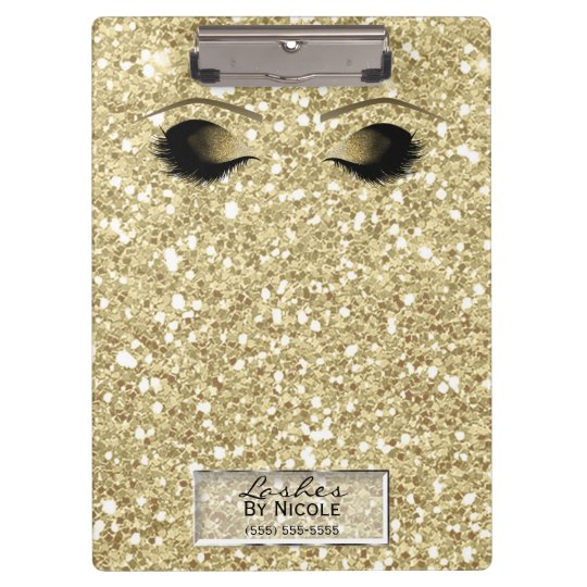 Glitter Gold Makeup Eyes Lashes Glam Personalised Clipboard
