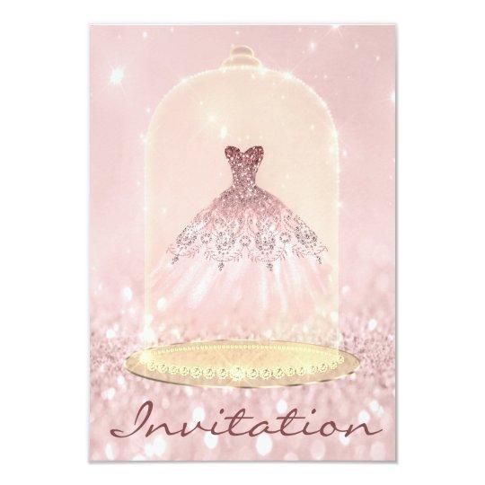 Glitter Gold Pink Diamond Dress Sweet 16th Card