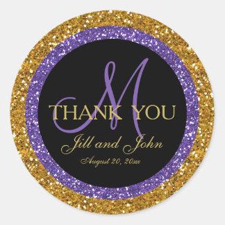 Glitter Gold Purple Wedding Favor Sticker